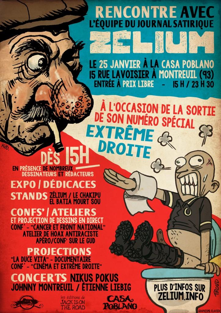 Affiche pour la journée et soirée de soutien à Zélium du 25 janvier 2014